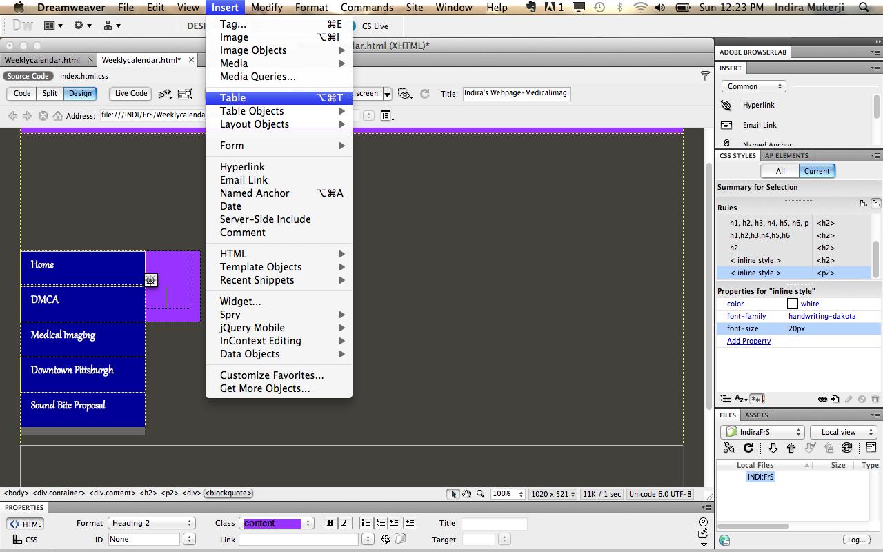 Creating a calendar using adobe dreamweaver digital composition diy when maxwellsz