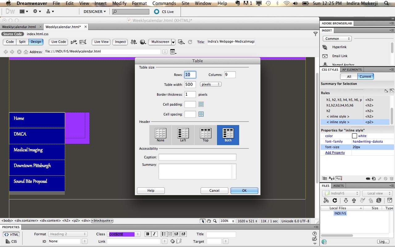 Creating a calendar using adobe dreamweaver digital composition diy you maxwellsz