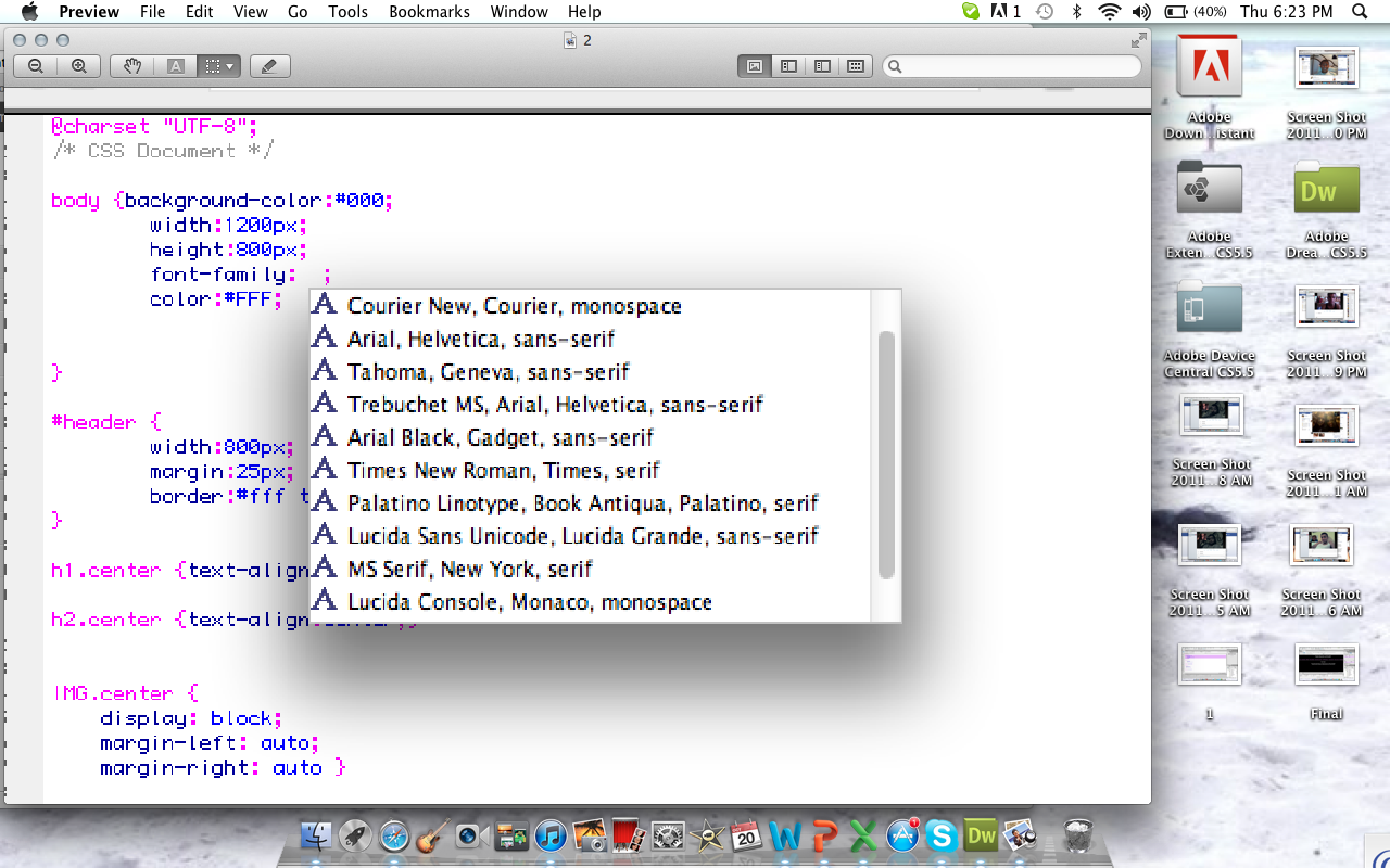how to add fonts to your auto css font family list on dreamweaver