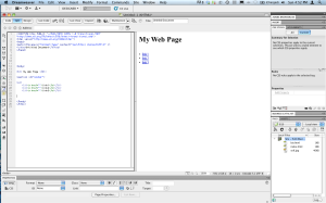 Basic webpage in Adobe Dreamweaver.