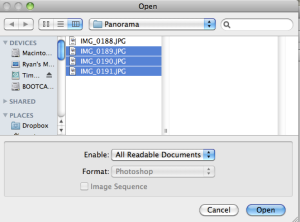 Opening files in Photoshop.