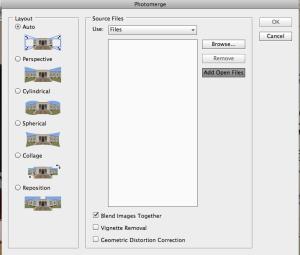 The photo merge dialog box.