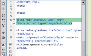 favicon html in dreamweaver
