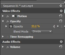 Adobe Premiere effects window.