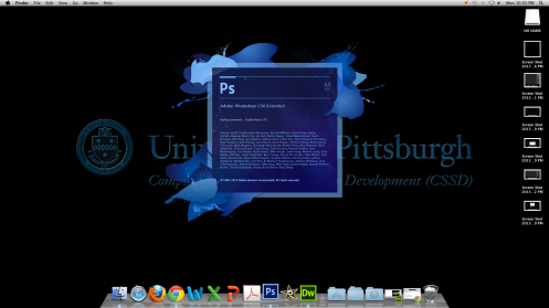 Opening screen of Photoshop