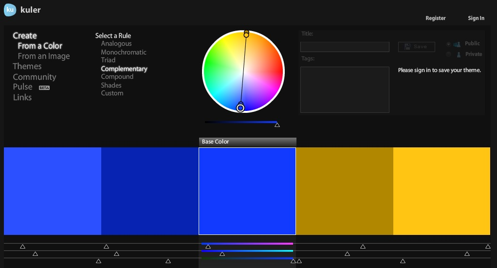 Finding the perfect fit color matching using adobe kuler - What colors compliment blue ...